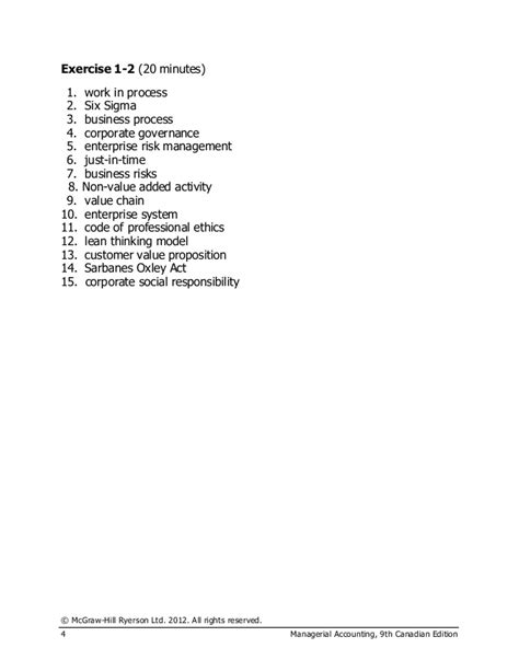 Managerial Accounting Solution Manual 9th Canadian Edition