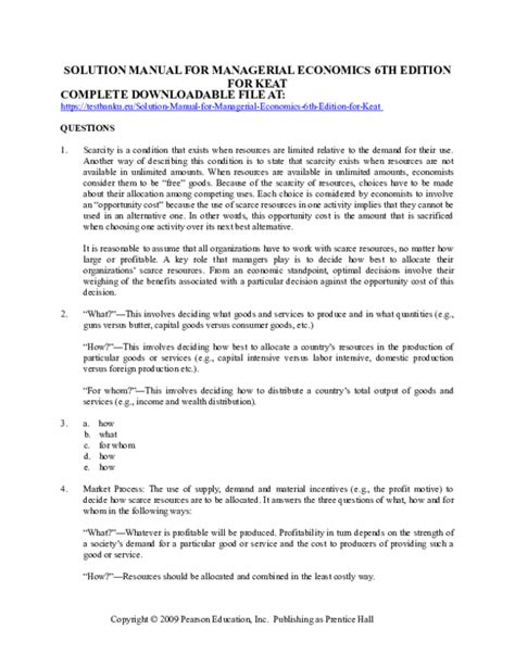 Managerial Economics Keat Solution Manual