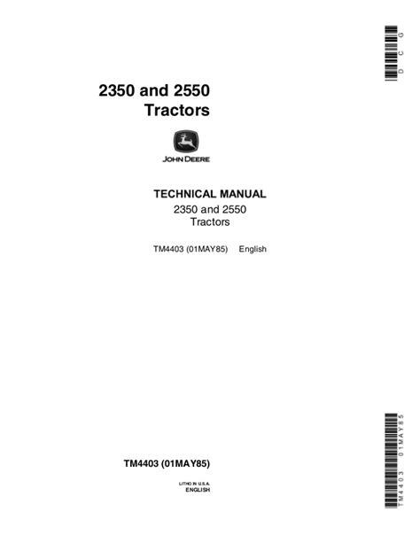 Manual For 2550 John Deer