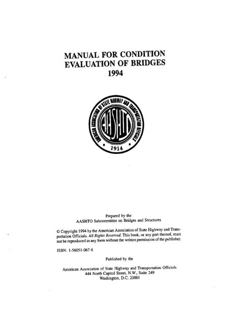 Manual For Condition Evaluation Of Bridges