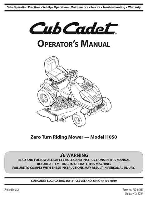 Manual For Cub Cadet Lt1050