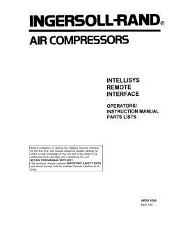 Manual Intellisys Remote Interface