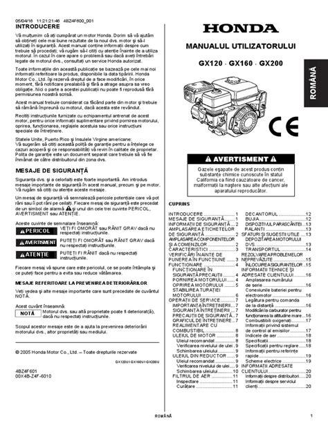Manual Repair Honda Gx160