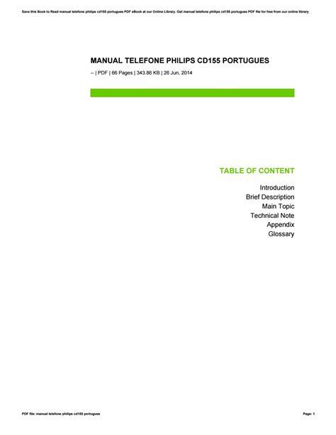 Manual Telefone Philips Cd155 Portugues