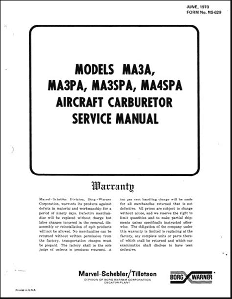 Marvel Schebler Service Manual Ma3spa
