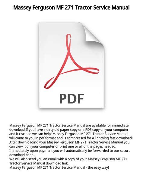 Massey Ferguson 271 Owners Manual