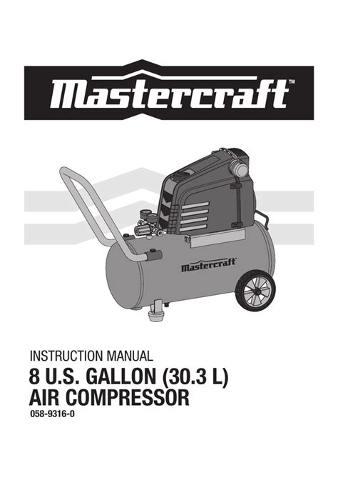 Mastercraft Instruction Manual For Air Compressor