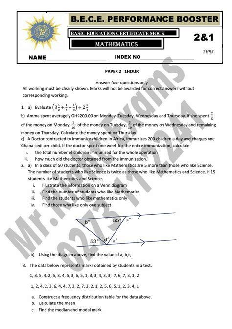Mathematics Answer For Bece Examination 2014