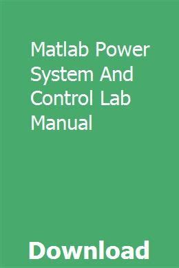 Matlab Power System And Control Lab Manual