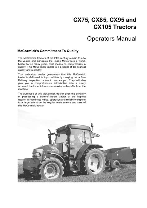 Mccormick Tractor Cx105 Service Manual