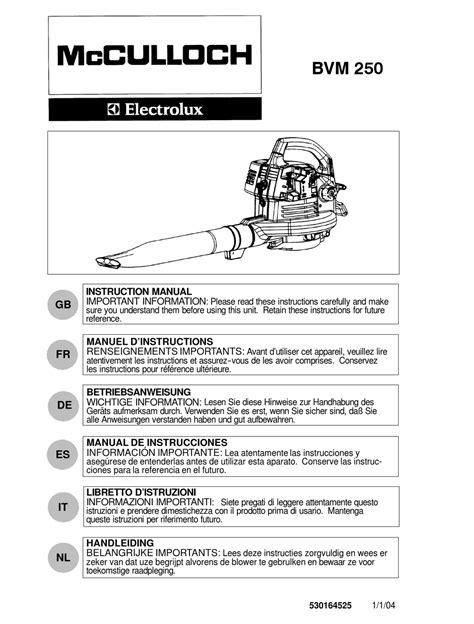 Mcculloch Bvm250 Service Manual