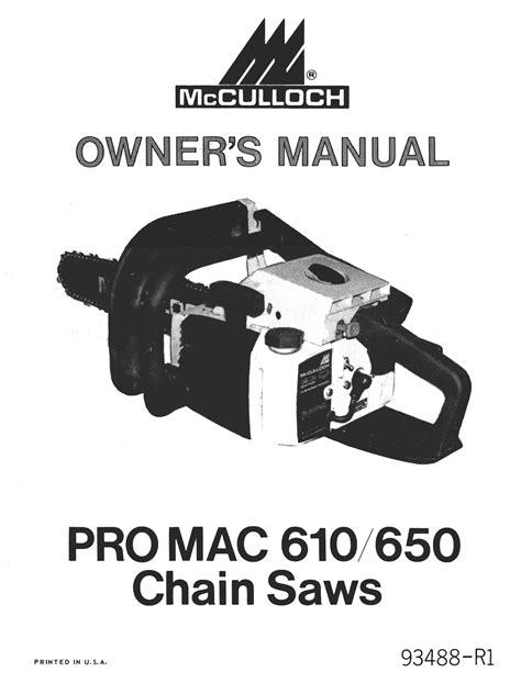 Mcculloch Pro Mac 650 Manual