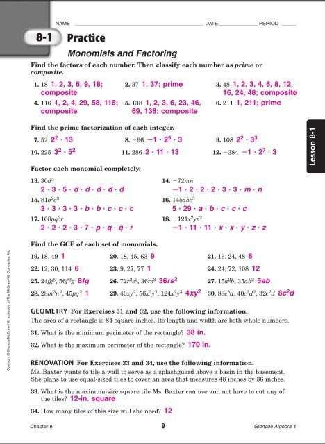 Mcgraw Hill Study Guide Answer Key Algebra