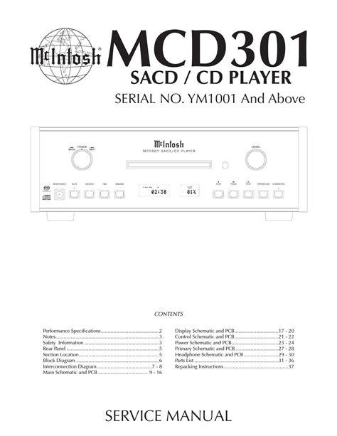 Mcintosh Mcd 301 Original Service Manual