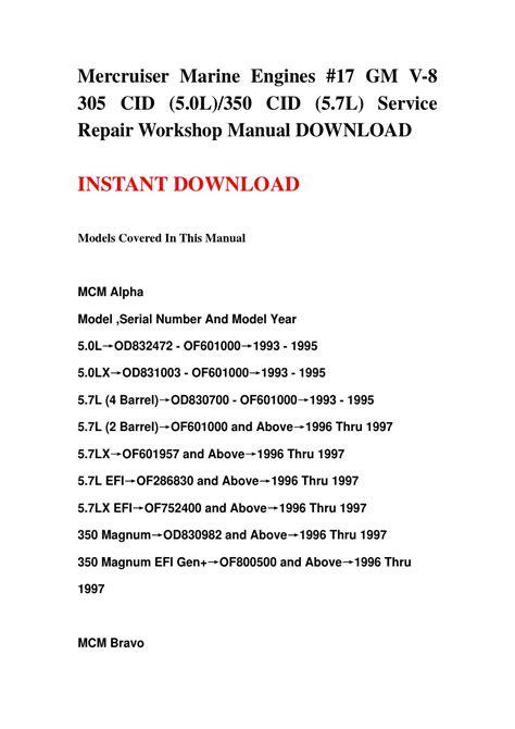 Mercruiser Marine Engines 17 Gm V 8 305 Cid 5 0l 350 Cid 5 7l Service Repair Manual 1993 1997