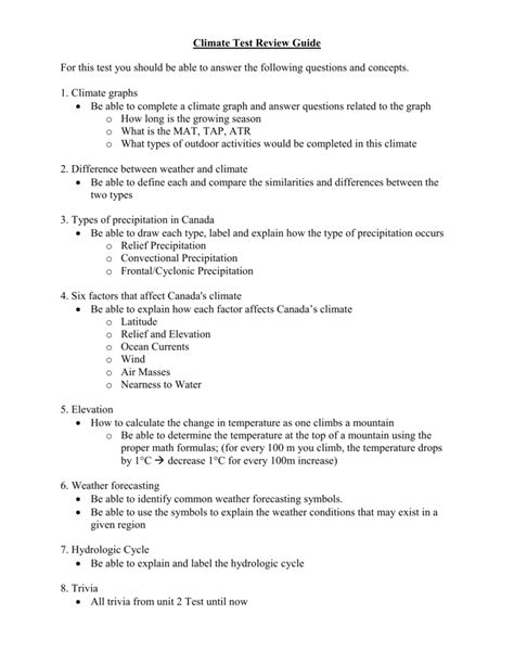 Meteorology Test Review Guide Answers