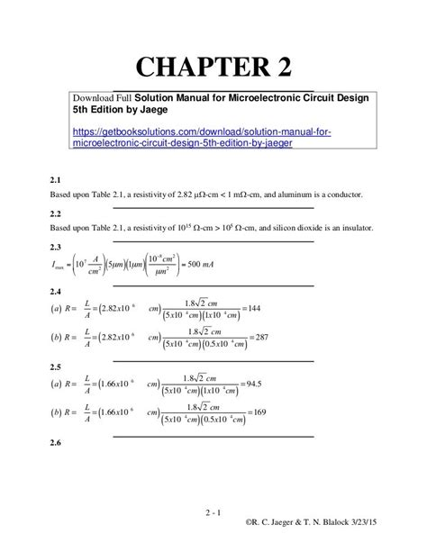 Microelectronic Circuit Design Solution Manual