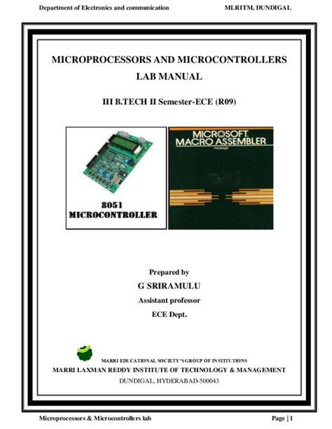 Microprocessor Lab Manual For Ece