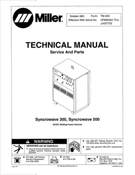 Miller Syncrowave 300 Technical Manual