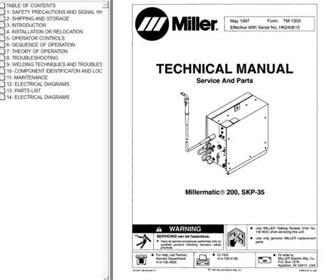 Millermatic 35 Repair Service Manual