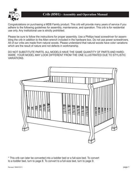 Million Dollar Baby Crib Instruction Manual