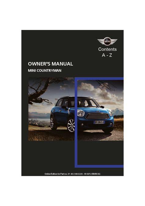 Mini Cooper Countryman Owners Manual