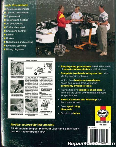 Mitsubishi Eclipse 1990 1994 Service And Repair Manual