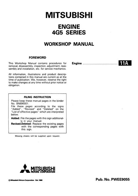 Mitsubishi Engine 4g5 Series Workshop Manual