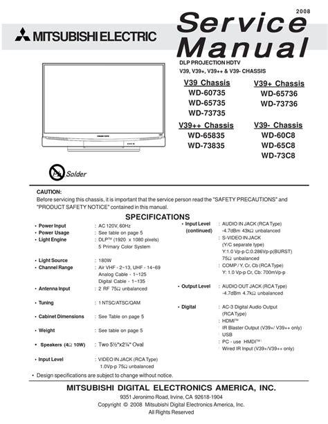 Mitsubishi Wd 60735 Service Manual