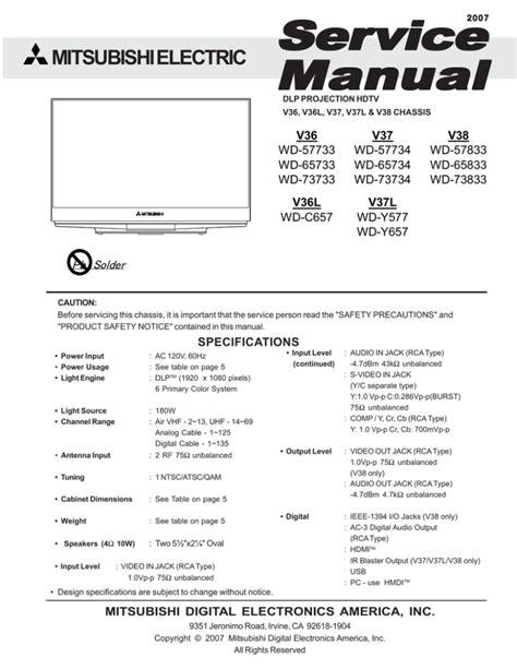 Mitsubishi Wd Y657 Manual
