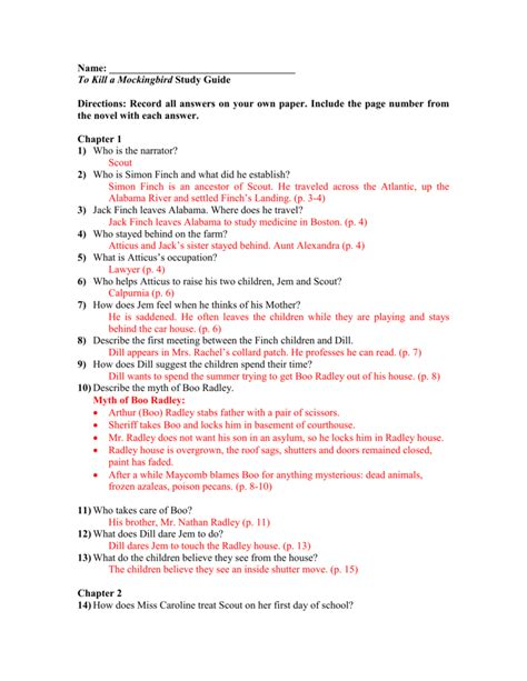 Mockingbird Study Guide Answers
