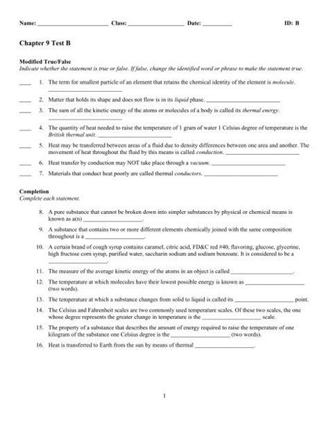 Modern Chemistry Assessment Chapter 9 Test B Answer Key