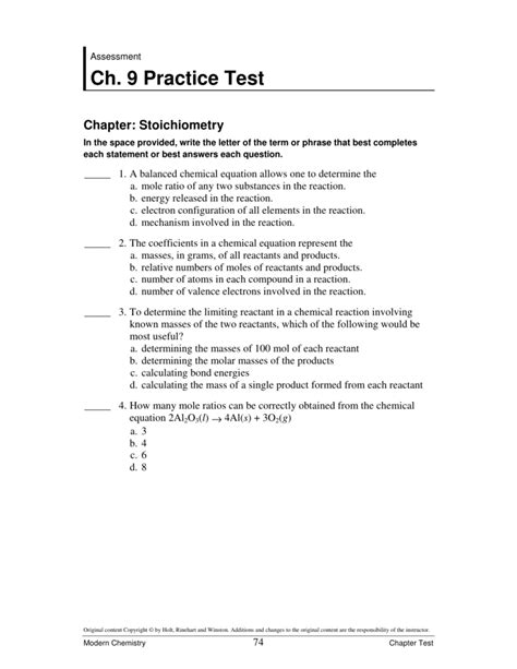 Modern Chemistry Chapter 9 Stoichiometry Answers