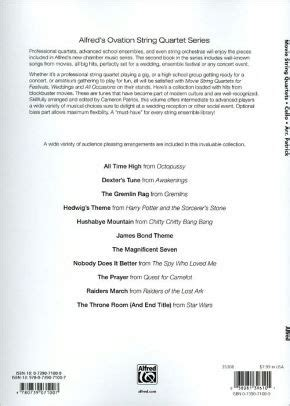 Movie String Quartets For Festivals Weddings And All Occasions Cello Parts