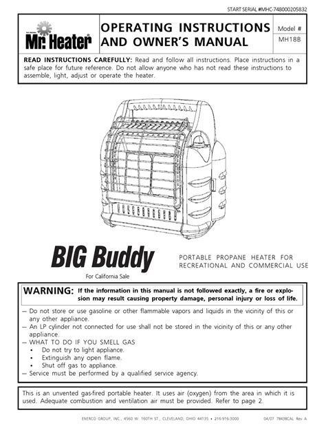 Mr Heater Big Buddy Owner Manual