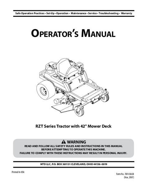 Mtd Rzt 42 Service Manual