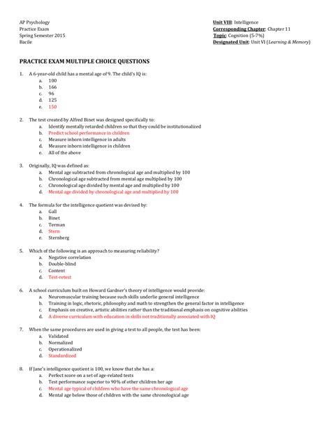 Myers Psychology Study Guide Answer Key