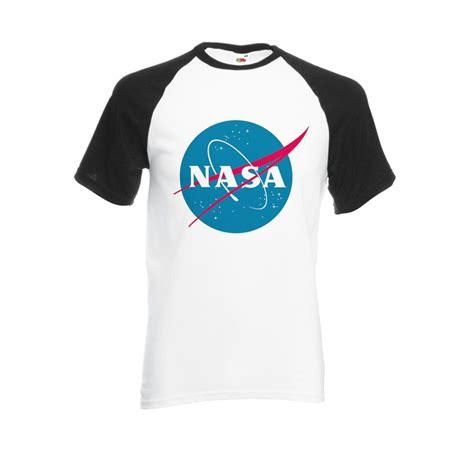 Nasa National Space Administration Logo Black White Men Women Unisex Shirt Sleeve Baseball T Shirt