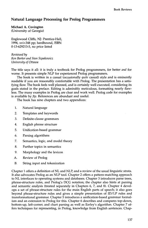 Natural Language Processing For Prolog Programmers By Michael A Covington 1993 08 13