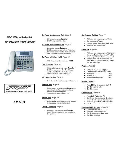 Nec It6030 Service Manualparts List
