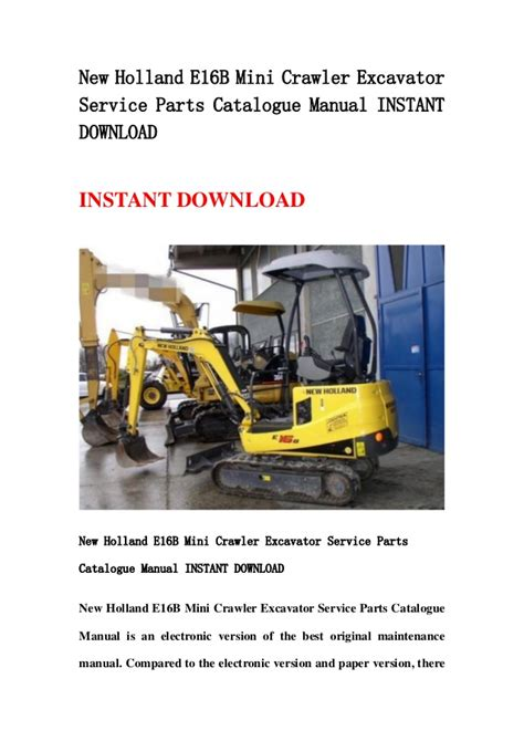 New Holland E16 E18 Mini Crawler Excavator Service Parts Catalogue Manual Instant