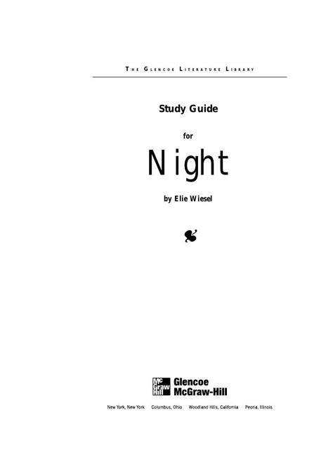 Night Elie Wiesel Study Guide Answers Glenco