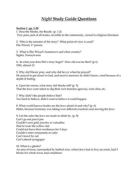 Night Study Guide Questions With Answers