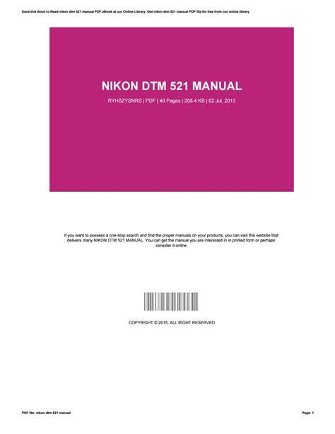Nikon Dtm 521 Manual