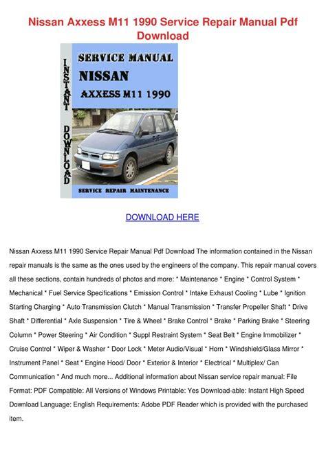 Nissan Axxess M11 1990 Repair Service Manual