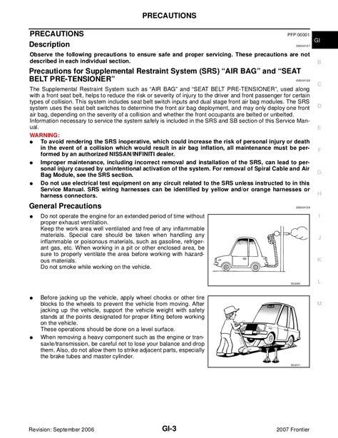 Nissan Frontier 2007 Service Repair Manual