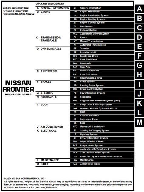 Nissan Frontier Workshop Manual