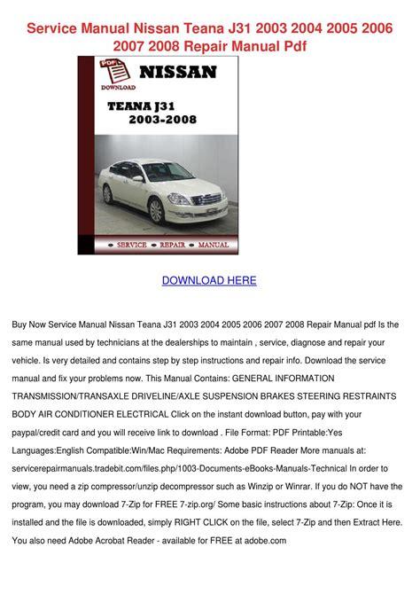 Nissan Teana Owners Manual