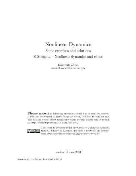 Non Linear Dynamics Strogatz Solutions Manual
