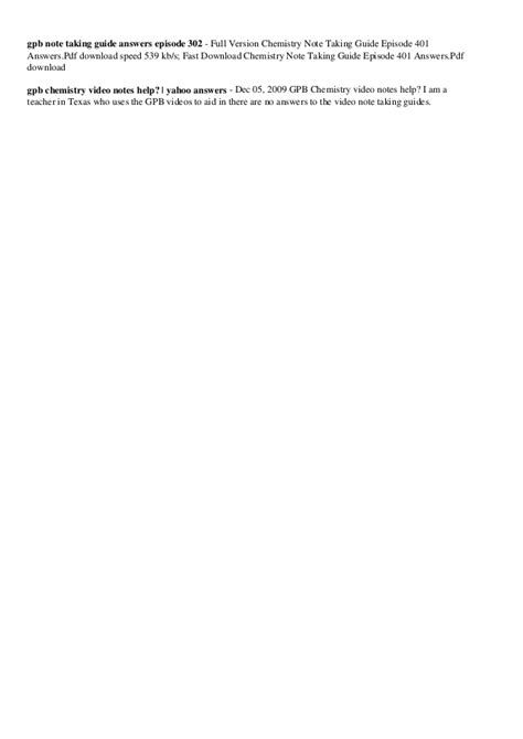 Note Taking Guide 605 Gpb Answers